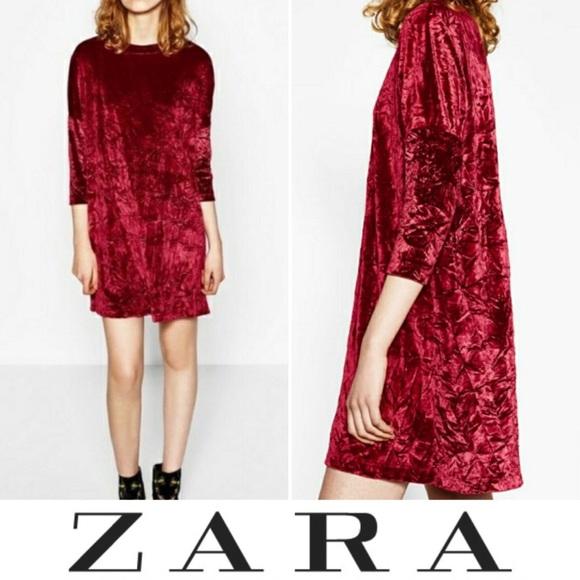 81c859a801 Zara • Burgundy Red Crushed Velvet Dress. M 5bce385125457a482349e3b3